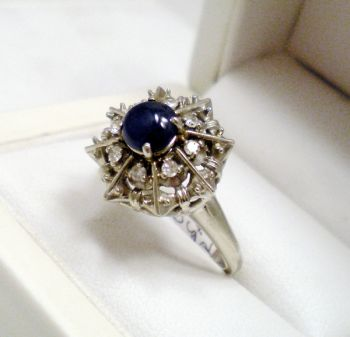"Antique Sapphire Cabochon & Diamond ""Princess"" ring, 14ct White Gold, handmade 1930s Dinner ring in Snowflake design"