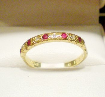 Ruby & Diamond eternity band in 18ct yellow gold.