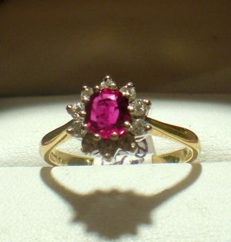 Vintage Fabulous Oval Ruby in Diamond cluster