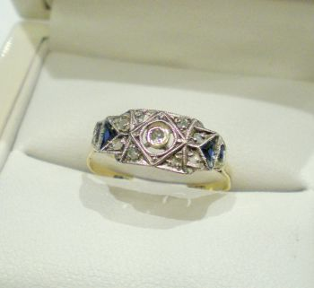 Antique 18ct Trilliant cut Sapphires & 9 Mine and Rose cut Diamond engagement ring, White & Yellow gold