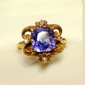 Antique Ceylon Sapphire & Diamond Ring, Victorian original with Natural untreated Old Cushion Sapphire. Absolutely Stunning original
