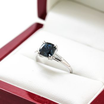 Fully restored Platinum Engagement ring with Cushion Cut Natural Blue Sapphire Diamond, Handmade Vintage C1945