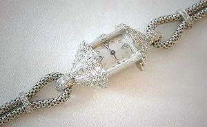 French Platinum and Diamond Deco era Cocktail watch