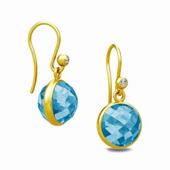 Gorgeous Sweet Pea drop earrings with faceted Blue Zircon stones