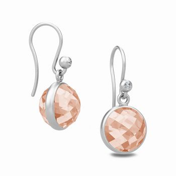 Gorgeous Sweet Pea drop earrings with faceted Morganite crystal stone