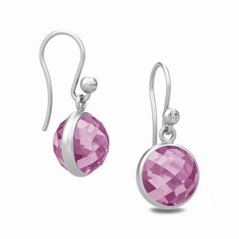 Sweet Pea drop earrings with faceted Amethyst crystal stones