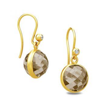 Faceted Smokey Crystal Sweet Pea drop earrings