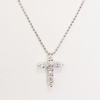 platinum 10 stone Diamond cross pendant necklace