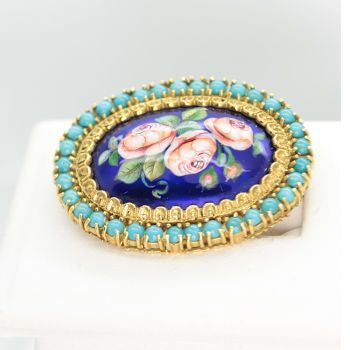 Antique Brooch in 18ct Gold with Enamel and Turquoise, Victorian