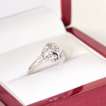 Vintage Petite engraved filigree Diamond Engagement Ring, 14ct white gold, Art Deco era