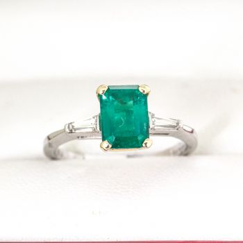 Emerald Cut, Emerald with side Diamonds in Platinum Engagement Ring, really special ring
