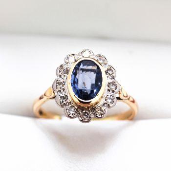 antique jewellery sydney, vintage jewellery, Sapphire ring, Vintage Sapphire, antique Ceylon sapphire, handmade Princess Diana ring, platinum blue sapphire ring, blue sapphire women ring