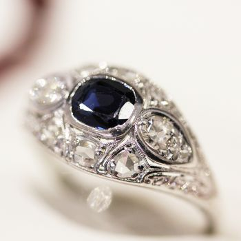 Antique Art Deco engagement ring, Vintage Sapphire and Diamond dome shaped ring