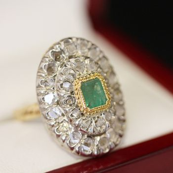Art Deco handmade Emerald and Diamond cluster ring, over 10 grams!