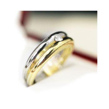 Estate age 14ct gold and single stone diamond wedding band, engagement ring.