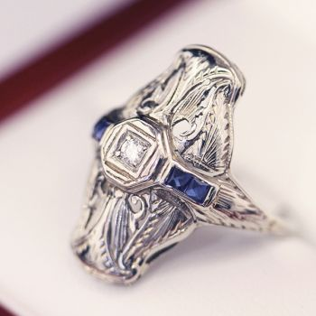 Antique Art Deco Diamond & Sapphire plaque style engagement ring, 18ct  filigree setting.