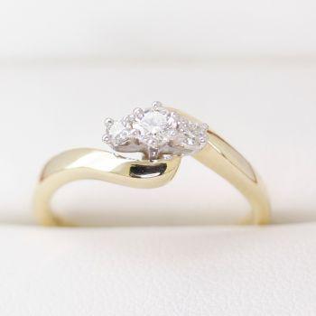 Past Present Future 3 Stone Diamond Engagement Ring