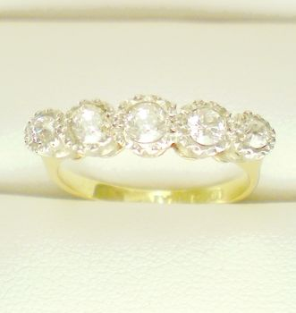 European Cut Diamond ring, (5), C1900. 18ct Gold and Platinum Engagement ring, Eternity ring or Wedding Band.