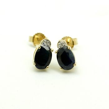 Vintage Times Pretty Dual Stone 9ct Yellow Gold Sapphire Earrings with Diamond Accents