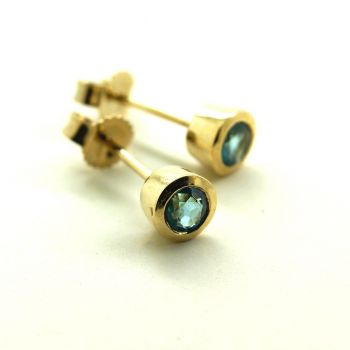 Blue Topaz Earrings in Yellow Gold, New Earrings, 4mm Round Bezel Set Blue Topaz