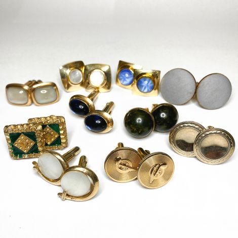 10 Pack of Mixed Colour Gold Plated Cufflinks