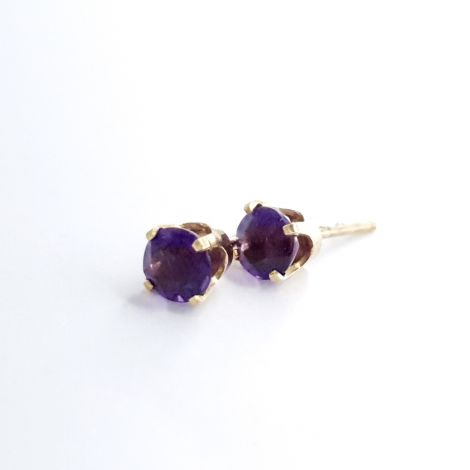 Amethyst earrings in yellow gold, sydney estate jewellery