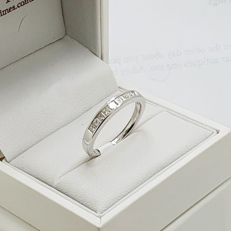 Beautiful princess cut wedding band, stack it or wedding band, a very versatile  Princess Cut Diamond half eternity ring
