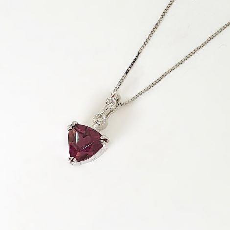 Rhodalite Garnet pendant with Diamonds