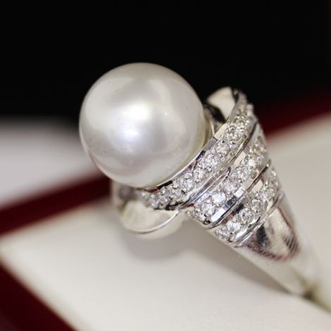 Antique South Sea Pearl and Diamond White gold ring