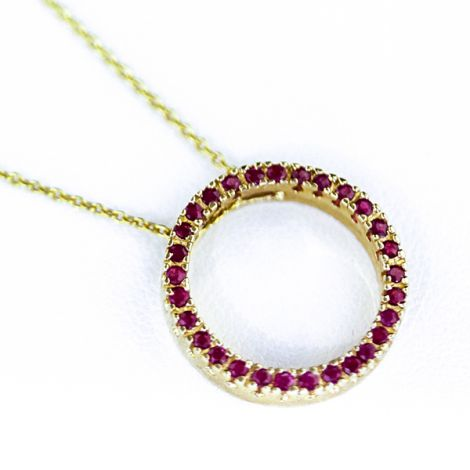 Ruby yellow gold circle of life pendant necklace