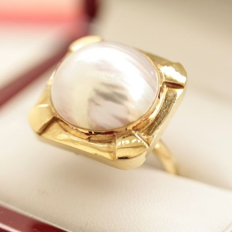 Cocktail ring for women, Pearl ring for women, Pearl in 22k gold ring, 1960's ring for women,  ring for Dinner Ring, Vintage Dress Ring, Gay friendly jewellers Sydney,