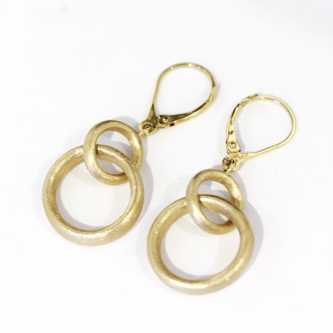 Beautiful Florentine finish, double hoop earrings in 14k yellow gold