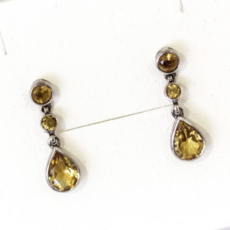 Gorgeous Cirtine teardrop drop earrings with round citrine post setting
