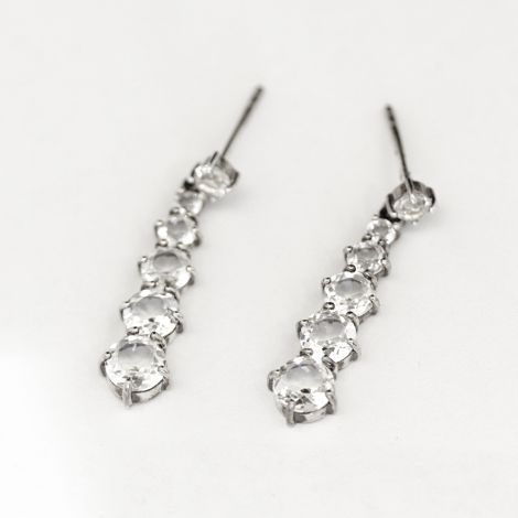 Beautiful silver and rock crystal drop earrings