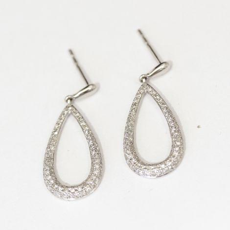 New Diamond drop hoop earrings, set in 14ct white gold. Stunning!