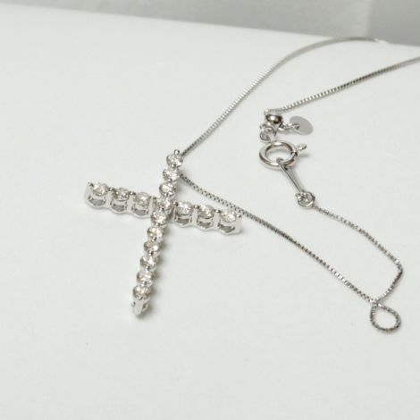 White Gold Cross Necklace, Estate Jewellery Sydney, Crucifix necklace, Diamond Pendant, Diamond necklace
