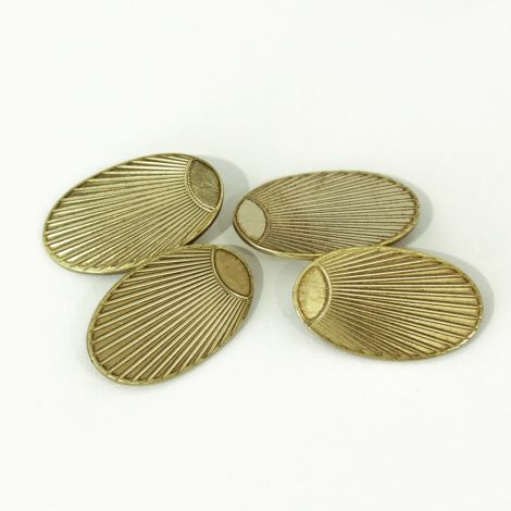 Engraved Art Deco Oval 10ct yellow gold double sided cufflinks, c 1920s