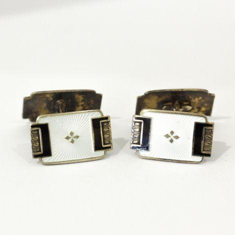 Art Deco Ivory and black enamel double sided cufflinks