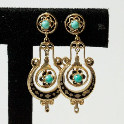 Antique Earrings with Enamel and Turquoise, Drop Pierced Earrings with Turquiose Cabochons
