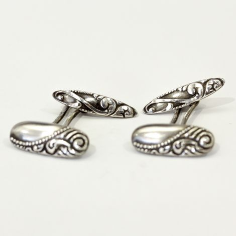 Antique Art Nouveau sterling silver cufflinks with engraved scroll design