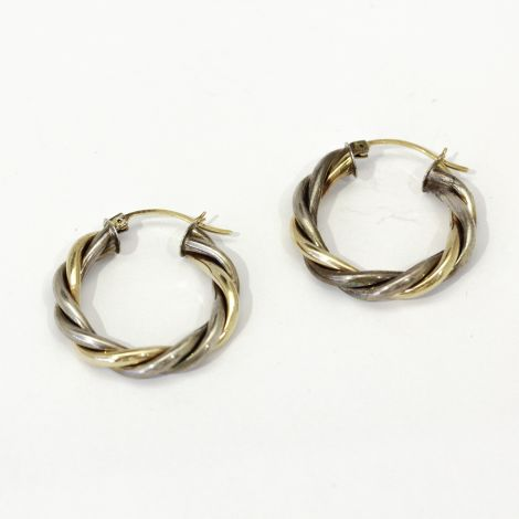 Lovely Vintage Gold twist hoop earrings in two tone 10k gold