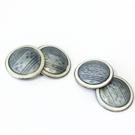 Art Deco light blue and ivory enamel and sterling silver guillioche engraved cufflinks