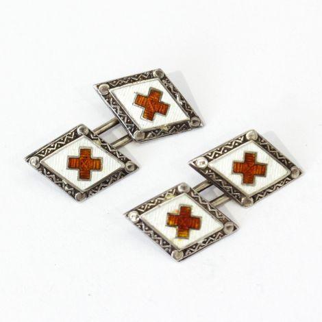 Vintage sterling silver  and Enamel Red Cross cufflinks, C1920's