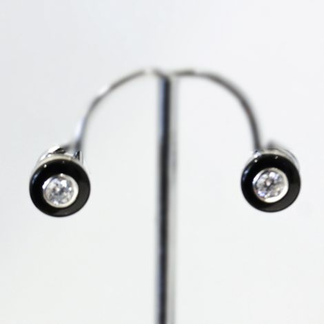 Classic small circular Onyx and cz stud earrings