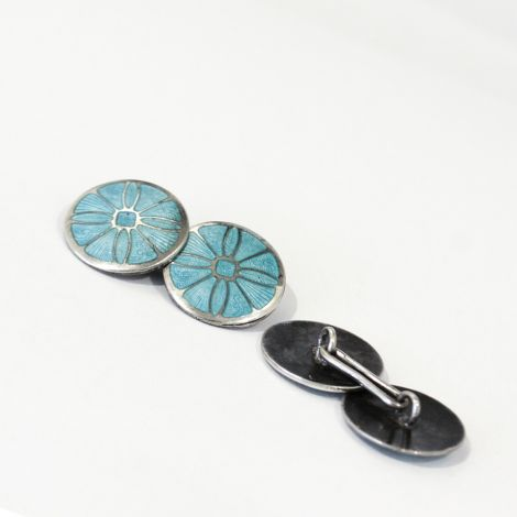 "Art Deco Sterling Silver guillioche cufflinks in Aqua blue with a ""wheel"" design"