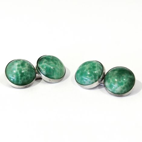 Vintage green mottled glass art deco cufflinks set in sterling silver