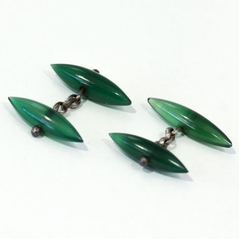 Vintage Double sided, chain link, Chrysoprase torpedo cufflinks