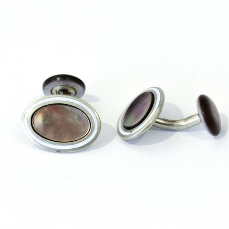 Vintage Abalone and enamel Cufflink and 7 shirt stud set