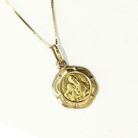 Beautiful 18ct yellow Communion medal and 18ct gold chain