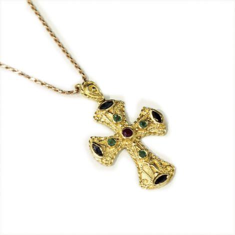 Beautiful multistone 18ct yellow gold cross pendant, Emeralds, Sapphires and Rubies